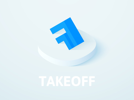 Takeoff isometric icon, isolated on color background 矢量图像