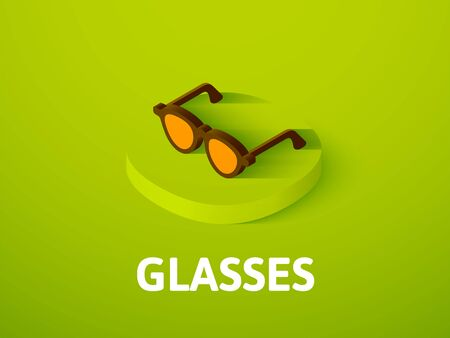 Glasses isometric icon, isolated on color background