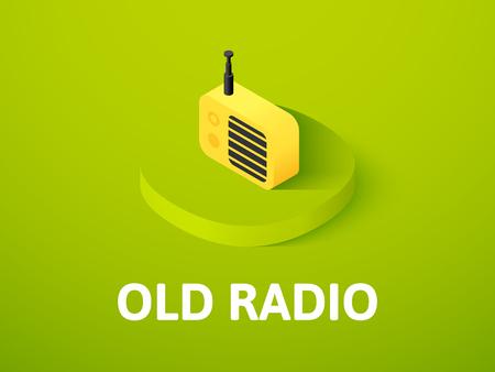 Old radio isometric icon, isolated on color background Stock Photo