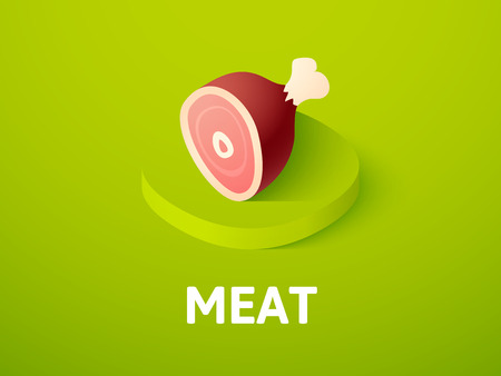 Meat isometric icon, isolated on color background  イラスト・ベクター素材