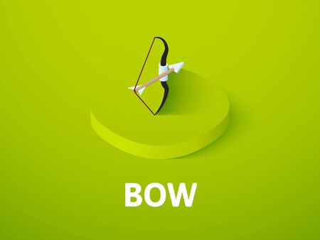 Bow isometric icon, isolated on color background Illustration