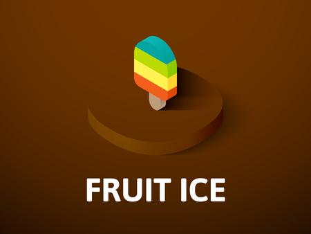 Fruit ijs isometrische pictogram, geïsoleerd op een achtergrond met kleur