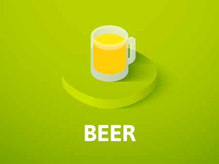 Beer isometric icon, isolated on color background Illustration