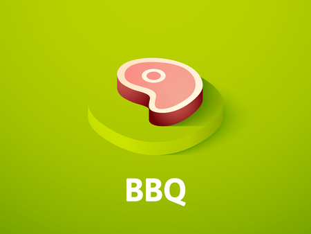 BBQ isometric icon, isolated on color background Illustration