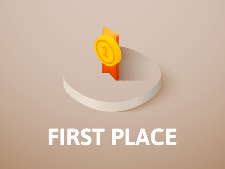First place isometric icon, isolated on color background