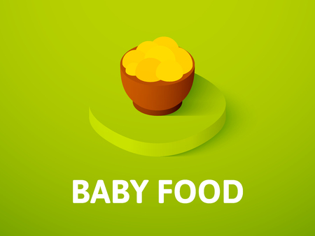 Baby food isometric icon, isolated on color background Çizim