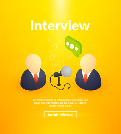 Bright yellow interview poster color design with two people Illustration