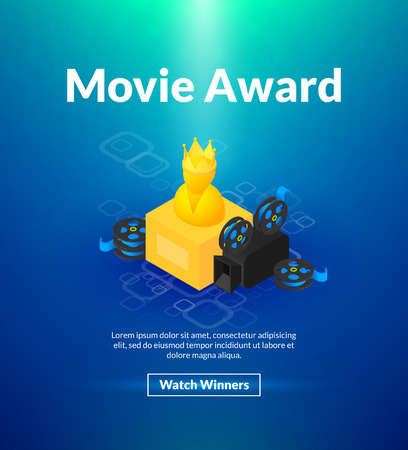 Movie award poster with camera and reel