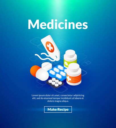 Medicines poster with pills on a blue background