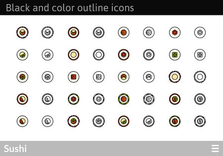 Sushi Black and color outline icons, thin stroke line style design Illustration
