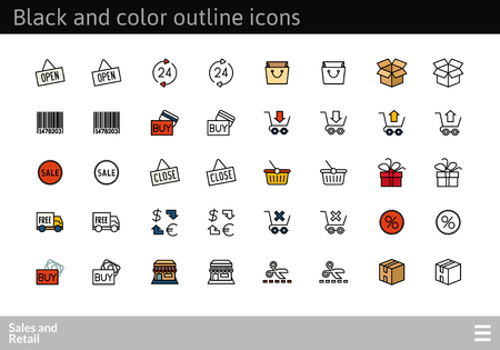 Black and color outline icons thin flat design, modern line stroke style, web and mobile design element, objects and vector illustration icons set 20 - sales and retail collection Ilustrace
