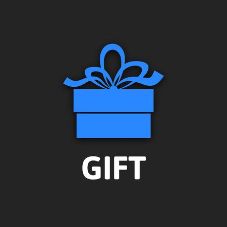 Gift box icon with ribbon flat design