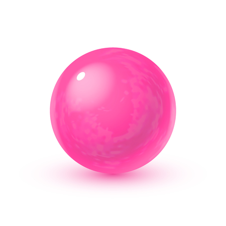 Realistic glass sphere with shadows, reflection of sky in mirror surface of pink pearl Illustration