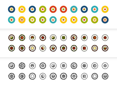 Black and color outline icons thin flat design, modern line stroke style, web and mobile design element, objects and vector illustration icons set  - sushi collection