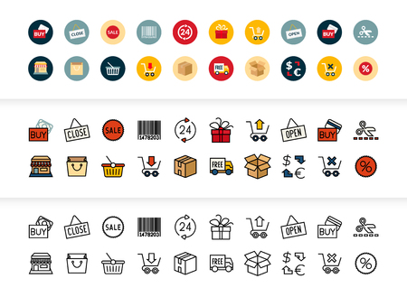 Black and color outline icons thin flat design, modern line stroke style, web and mobile design element, objects and vector illustration icons set - sales and retail collection Ilustrace