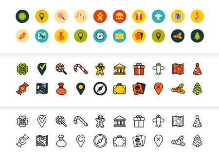 Black and color outline icons thin flat design, modern line stroke style, web and mobile design element, objects and vector illustration icons set - holiday collection