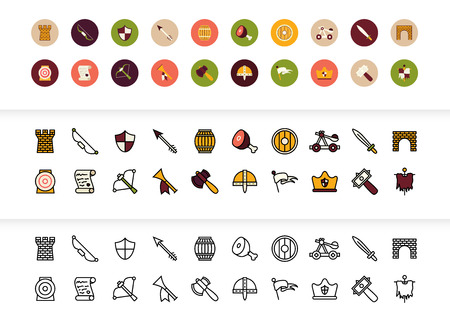 Black and color outline icons thin flat design, modern line stroke style, web and mobile design element, objects and vector illustration icons set - castle and waepon collection