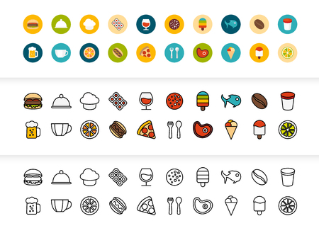 Black and color outline icons thin flat design, modern line stroke style, web and mobile design element, objects and vector illustration icons set  - food and drink collection