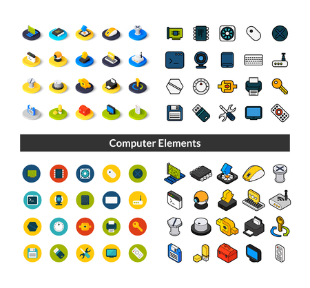 Set of icons in different style - isometric flat and otline, colored and black versions Banco de Imagens - 97025977