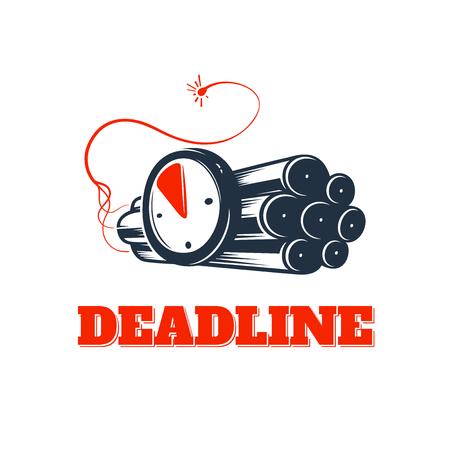 Deadline concept logo, countdown vector emblem