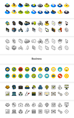 Set of business icons in different style - isometric flat and outline, colored and black versions. Çizim