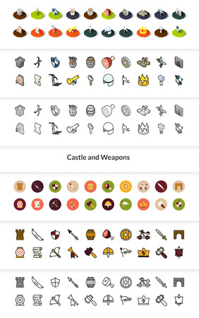 Set of castle and weapon icons in different style - isometric flat and outline, colored and black versions.