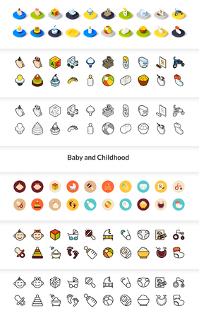 Set of baby and childhood icons in different style - isometric flat and outline, colored and black versions. Illusztráció
