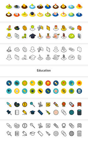 Set of Education icons in different style - isometric flat and outline, colored and black versions Çizim