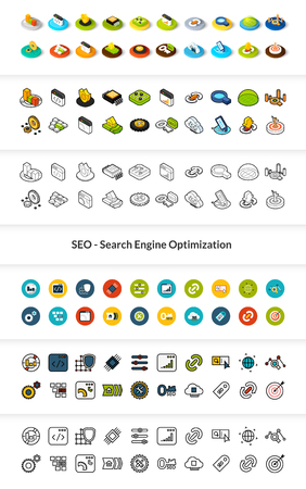 Set of SEO icons in different style - isometric flat and outline, colored and black versions