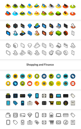 Set of Shopping and finance icons in different style - isometric flat and outline, colored and black versions