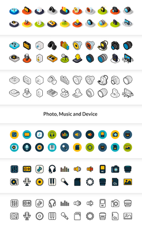 Set of icons in different style - isometric flat and outline, colored and black versions.