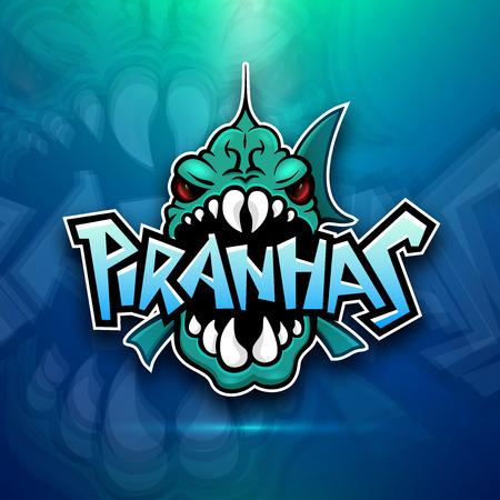 Piranhas emblem icon for sports team illustration.