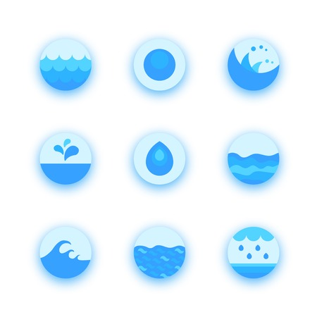 Set of abstract flat water icons, vector design elements