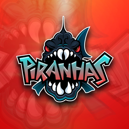 Piranhas emblem logo for sports team