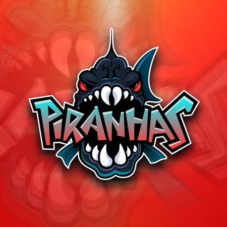 Piranhas emblem logo for sports team