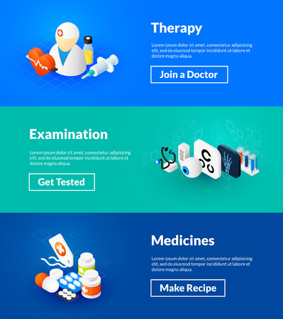 Therapy examination and medicines banners of isometric color design