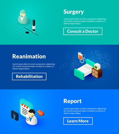Surgery reanimation and report banners of isometric color design