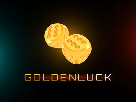 Golden luck concept, shiny realistic metallic two rolling dices 矢量图像