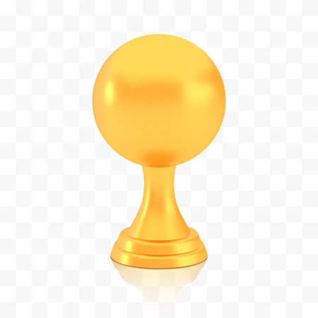 Winner sphere cup award, golden trophy  isolated on white transparent background