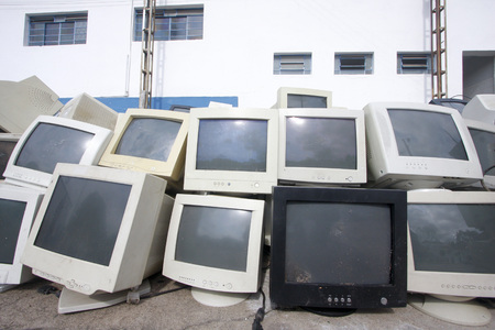 crt: Set of various old CRT monitors for recycling or disposal. technological waste.