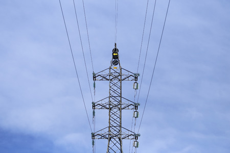 Tower with cables for electric power transmission