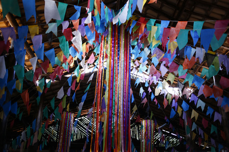 Colorful flags decoration of traditional party junina