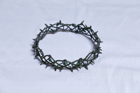 Symbol of the Crown of Thorn on the Calvary of Jesus Christ Stock Photo