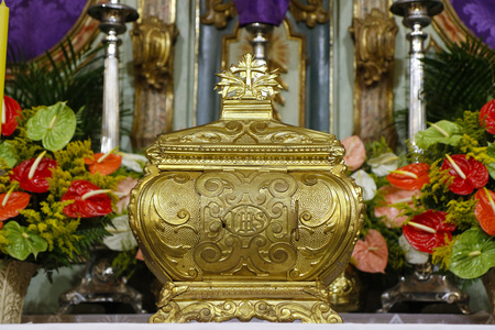 A symbol of Catholic devotion, exposed in church on the altar during adoration of the Blessed Sacrament