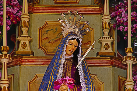 Statue of the image of Our Lady of Dores, mother of God in the Catholic religion