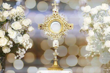 Ostensory for worship at a Catholic church ceremony, corpus christi, catholic symbol, holy hour
