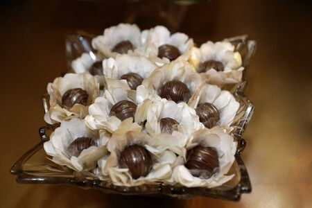 Delicious party candy, celebration sweets, reception foods, chocolate and cherry candy Banco de Imagens