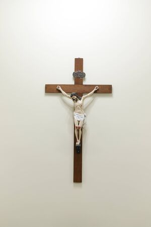 statue with image of crucified Jesus - wooden cross and Jesus Christ - Lord Jesus