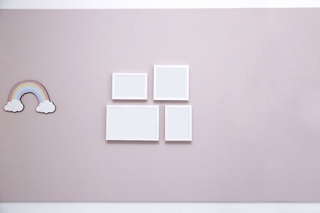 Light pink panel on wall with mockup frames - Girls kids room - Pink wall in kids room for girl