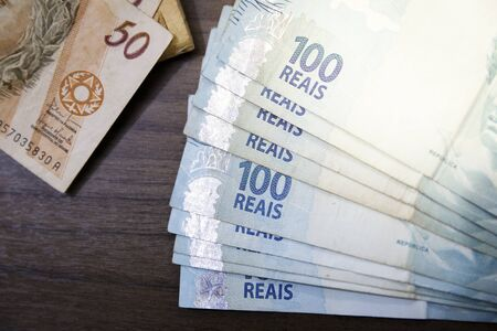 Banknotes Brazilian Real notes, money from Brazil, notes of Real, Brazil BRL banknote, Brazilian currency, economy and business.